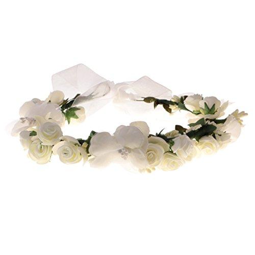 Sharplace Cerchietti Fasce Per Capelli Stile Boho Fiore Corona Ghirlanda Da Sposa Matrimonio - bianco