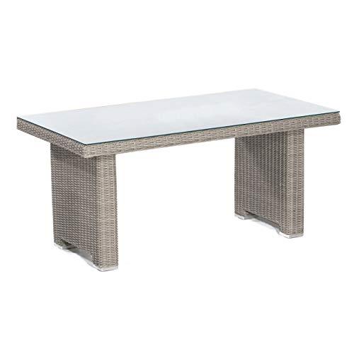 Sonnenpartner Dining-Tisch Residence 140x80 cm Aluminium mit Polyrattan Stone-Grey mit Glas Loungetisch