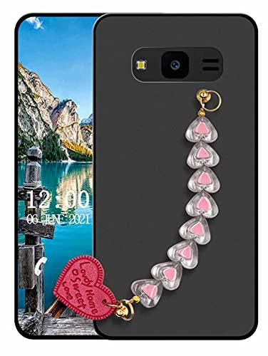 Sunrive Funda Compatible con Samsung Galaxy J7 Nxt, Colgante movil con Cuerda Rhinestone Crystal Silicona Mate Slim Fit Gel Carcasa Case Bumper Espalda Cover Pulsera(L corazón)