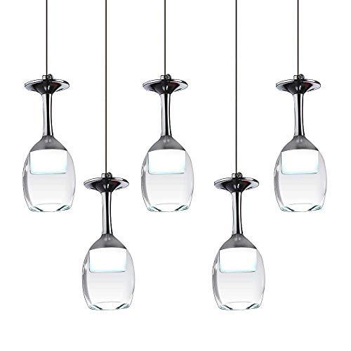 Moderne Hängelampe,Restaurant LED Glaslampe mit 5 Weinglas Pendelleuchte Acyle Glasschirm Pendellampe Hängeleuchte für esstisch, Einstellbar,Kaltweiß