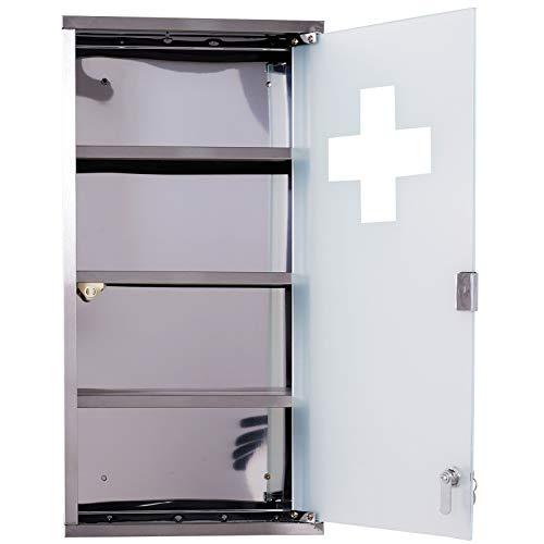 homcom Armadietto Medicinale Cassetta Porta Medicina a Quattro Ripiani in Acciaio Inox 30 x 12 x 60cm