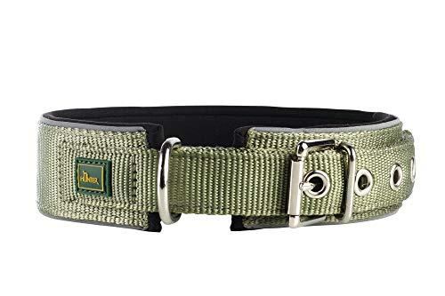 HUNTER NEOPREN REFLECT Hundehalsband, Nylon, Neopren gepolstert, reflektierend, 45 (S-M), oliv/schwarz