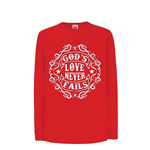 lepni.me Camiseta para Niños Jesús te Ama El Amor de Dios Nunca Falla Regalo Cristiano (12-13 Years Rojo Multicolor)