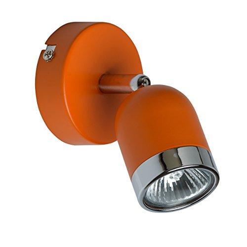 MW-Light 546020901 Moderner Wandspot Wandstrahler Oranges Metall Chrom Drehbar 1 x 35W GU10