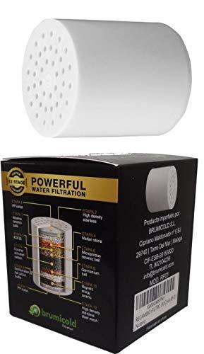 BRUMICOLD SPAIN recambio filtro ducha RF-01 cartucho universal,12 etapas compatible con...