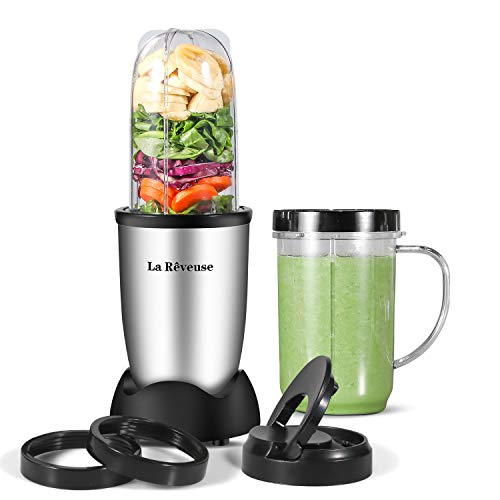 La Reveuse Personal Size Blender 250 Watts Power for Shakes Smoothies Seasonings Sauces with 2 Pieces 16 oz Mug -Silver