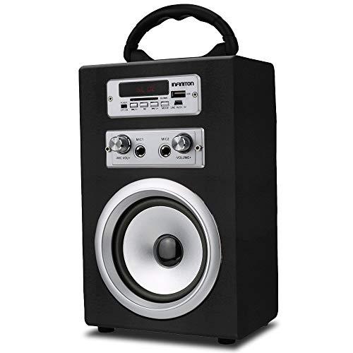 INFINITON Altavoz PORTATIL K8 Bluetooth (Karaoke, Microfono, microSD, USB, MP3, Bateria, Manos Libres) (Negro)