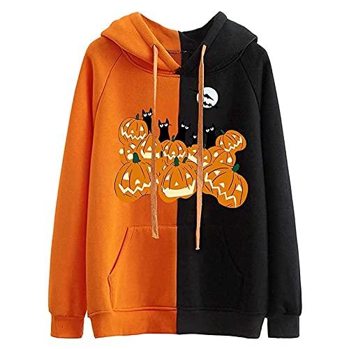 LPPL Sudaderas de Halloween para mujer con capucha de manga larga con capucha y diseño de calabaza vintage con cordón, g, S