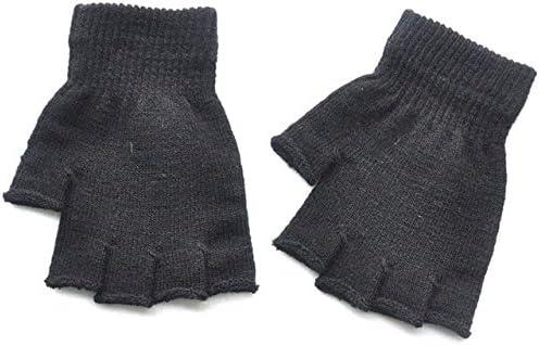 New Unisex Hot Men Women Knitted Stretch Elastic Warm Half Finger Fingerless Gloves for Winter - (Color: Black)