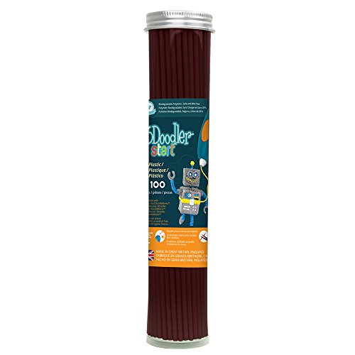 3Doodler Start 3D Printing Filament Refill Tube (X100 Strands, Over 830'. of Extruded Plastic!) - Coco Brown, Compatible with Start 3D Pen for Kids
