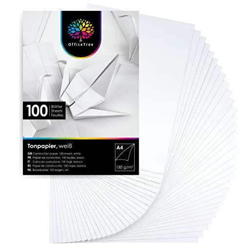 OfficeTree 100 Blatt Tonpapier Weiß A4-130g/m² Weißes Bastelpapier - Tonkarton A4 Weiß zum Basteln und Gestalten - Blauer Engel zertifiziert