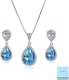 AMYJANE Elegant Jewelry Set for Women - Silver Teardrop...