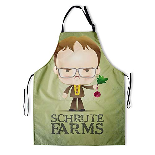 Dwight Schrute Kitchen Aprons SCHRUTE Farm Radish Waterproof Polyester Kitchen Aprons with 2 Pockets Cooking Painting Apron for Women/Men/Kids/Chef 28x33 Inch