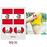 tzxdbh 7Pcs- Flag Tattoo Soccer Football Game Fan Tattoo Sticker 6cm * 8cm 7Pcs-