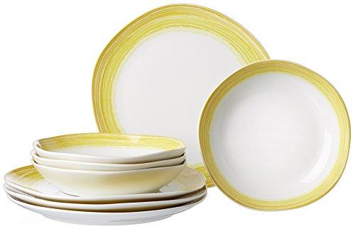 Ritzenhoff & Breker Sunrise - Vajilla (8 piezas, porcelana), color amarillo