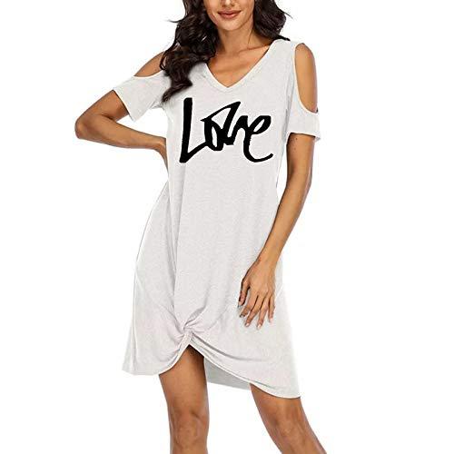 smonke Damenmode Trägerlos Binden Sie den Knoten V-Ausschnitt Kurzarm FreizeitkleidDamenmode Off Shoulder Printed Side Knotted Dress