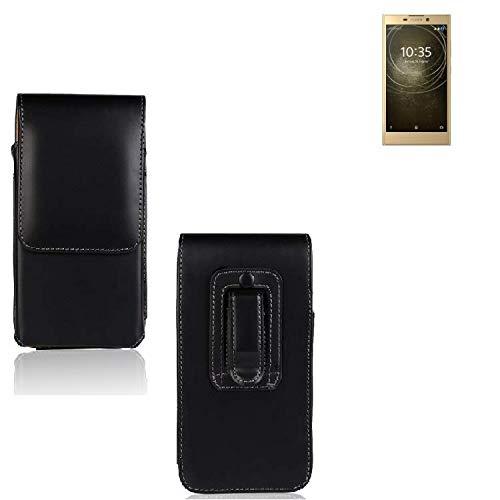 K-S-Trade® Für Sony Xperia L2 Dual-SIM Holster Gürtel Tasche Gürteltasche Schutzhülle Handy Tasche Schutz Hülle Handytasche Smartphone Case Seitentasche Vertikaltasche Etui Belt Bag Schwarz Für