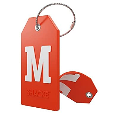 Initial Luggage Tag with Full Privacy Cover and Stainless Steel Loop – (Letter M)