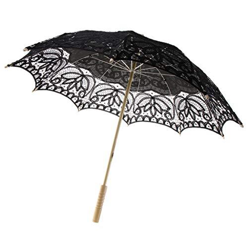 Sharplace Dentelle Parapluie Floral Artisanal Style Oriental Parasol Elégant Romantique Accessoires de Mariage - Diamètre 82 cm - Noir -2