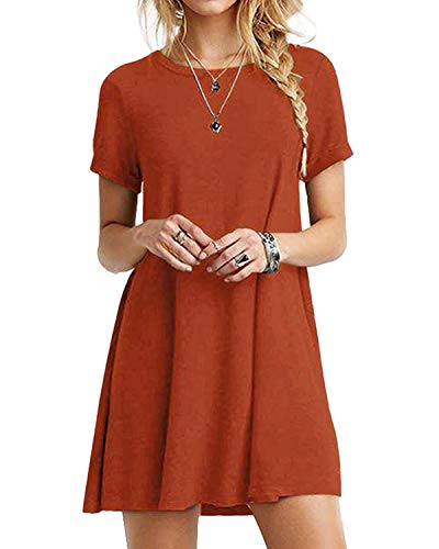 YOINS Sommerkleid Damen Tunika Tshirt Kleid Bluse Kurzarm MiniKleid Boho Maxikleid Rundhals ,Orange,CN S