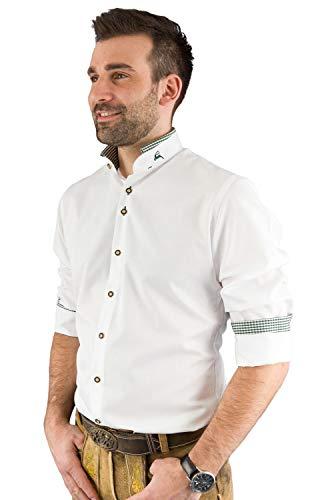 Arido Trachtenhemd Herren 2624 255 Baumwollhemd Weiß Grün Kariert Hemd Stehkragen Slim Fit Freizeit Shirt - 39