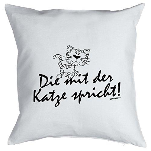 Transformées cadeau canapé-cool katzenbesitzer : la formule de chat avec coussin avec garnissage-couleur : blanc