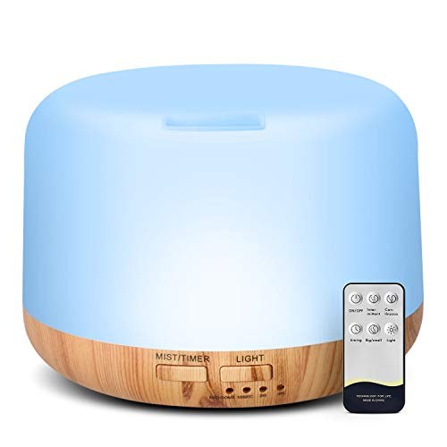 HOMEWEEKS Essential Oil Diffuser, Quiet Aromatherapy Mist Diffusers For Essential Oils, Wood Grain Ultrasonic Oil Diffuser With Remote Control,Timer, 7 Colors Light For Bedroom Office