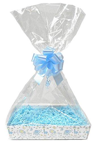 Bebé azul DIY cesta de regalo Kit–Little Boy cartón bandeja, azul Shred, lazo azul, Violonchelo bolsa y etiqueta de regalo de color azul (Medium–30x 20x 6cm de alto)