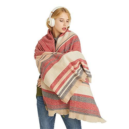 YUNSW Herbst Und Winter Nachahmung Kaschmir Schals Mode Nähen Streifen Dicke Warme Farbe Umhang Weihnachtsge Schenk 200x60cm
