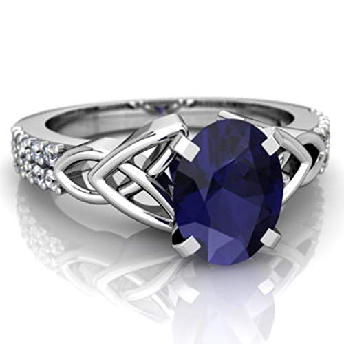 glowspectrajewels Celtic Ring 1.15 CTW Oval Sapphire & CZ Diamonds 14K White Gold Fn (10)