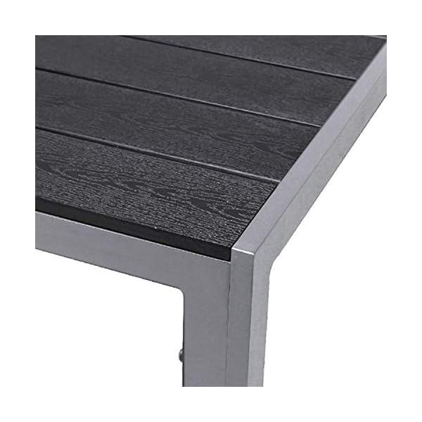 FineHome Schöner Aluminium Gartentisch Polywood Esstisch Gartenmöbel Tisch Silber/Schwarz Holzimitat wetterfest…