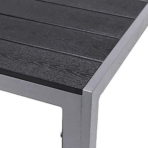 FineHome Schöner Aluminium Gartentisch Polywood Esstisch Gartenmöbel Tisch Silber/Schwarz Holzimitat wetterfest 150x90x74cm