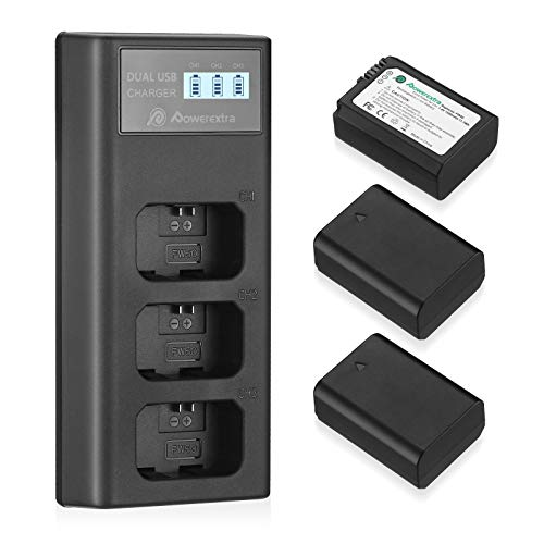 Powerextra NP-FW50 Rechargeable Battery Charger Set for Sony A6000 A6500...