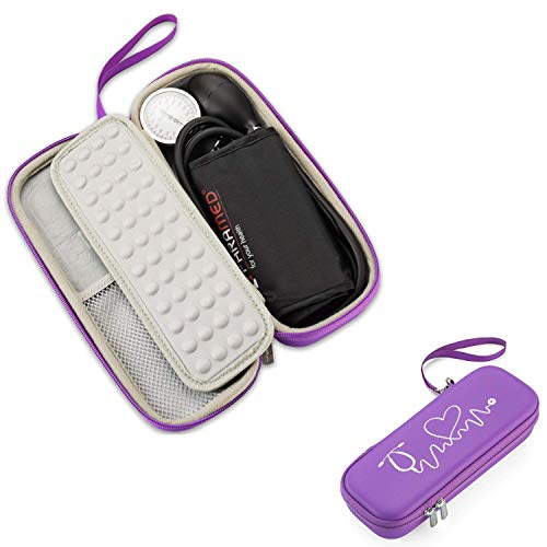 Caseling Hard Stethoscope Case Compatible with 3M Classic III, Lightweight II S.E, Cardiology IV Diagnostic, Includes ID Slot and Mesh Pocket for Nurse Accessories (Purple - Pu Leather)