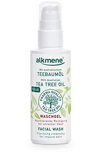 alkmene Teebaumöl Waschgel für unreine Haut - Anti Pickel, Hautunreinheiten & Rötungen Reinigungsgel - vegane Gesichtspflege ohne Silikone, Parabene & Mineralöl (1x 150 ml)