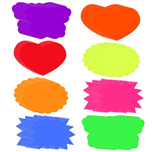 4.7x6.3inch Burst Signs Fluorescent Signs 80 Pieces Fluorescent Signs Fluorescent Neon Starbursts Poster Shapes Cut-Outs for School Offices, Memos, Arts and Crafts Burst Paper Signs