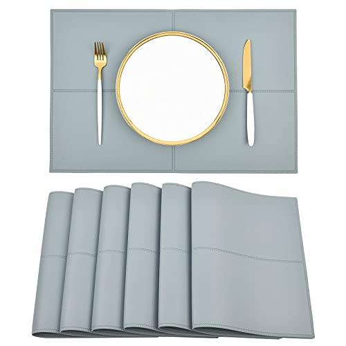 Conjunto de placas de cuero de imitación negras reversibles de 6 alfombrillas de mesa resistentes al calor y manchas a prueba de agua fáciles de limpiar para la mesa de comedor de cocina Mimitool