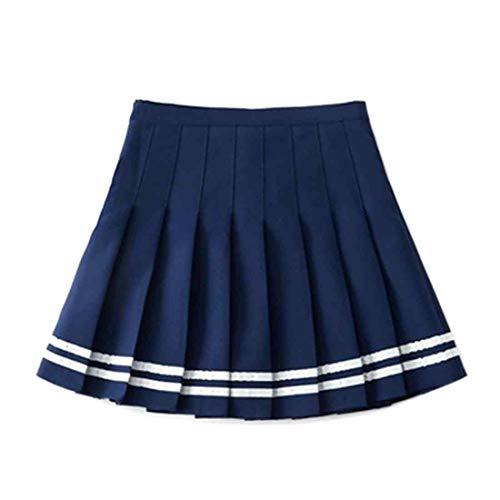 Inlefen Falda a Cuadros de Verano Estilo Harajuku de Las Mujeres Plisado Salvaje una Palabra Falda Cintura elástica Falda a Rayas Caramelo Mini Lindo Uniforme Escolar Falda Azul-S