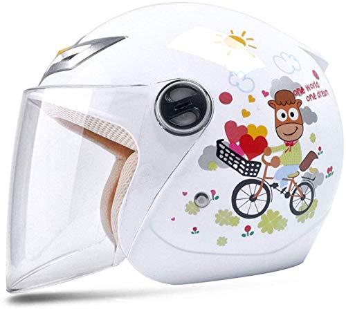 ZHANG Casco Portátil para Niños, Bicicleta, Niño, Niña, Bebé, Cuatro Estaciones, Casco de Dibujos Animados, Medio Casco,White