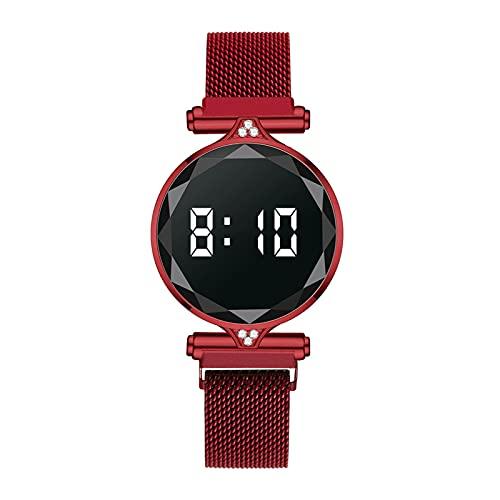 Jiaojie Reloj electrónico de la correa del imán de la tendencia casual neutral reloj luminoso pantallas grandes duraderas y elegantes