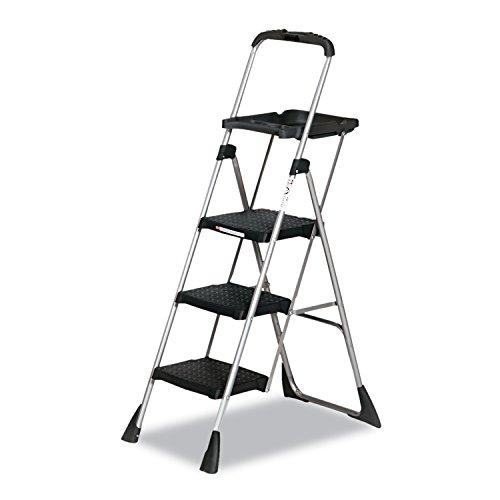 Cosco 11880PBLW1 Max Work Steel Platform Ladder, 22w x 31d x 55h, 3-Step, Black