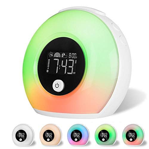 L.J.JZDY Wekker Zonsopgang Simulatie Wekker Slaapkamer Lamp Kleurrijke Verandering Bluetooth Aansluiting LED Wekker