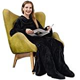 Wearable Blanket with Sleeves and Feet Pockets,Super Soft Blanket for Adult Women Men, Comfy Warm Large Fleece TV Throw for Full Body with Pocket (Black 55'X70.8')