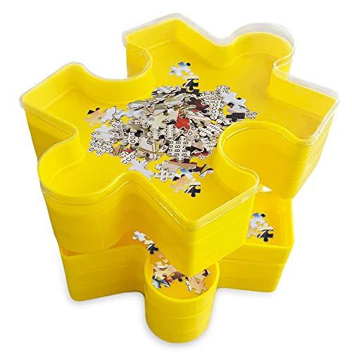 teytoy Puzzle Sortierschalen Stapelbare Spleißbar Puzzle Sortierer für Sortieren und Aufbewahren, Ideales Zubehör für Puzzle-Liebhaber mit 6 Sortierschalen und 1 Transparente Abdeckung