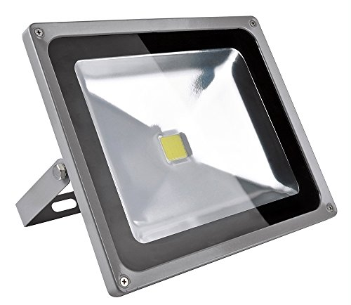 FARO LED SLIM 50 WATT IP66 6500 K BIANCO FREDDO COMPLETO DI STAFFA SOTTILE 50W