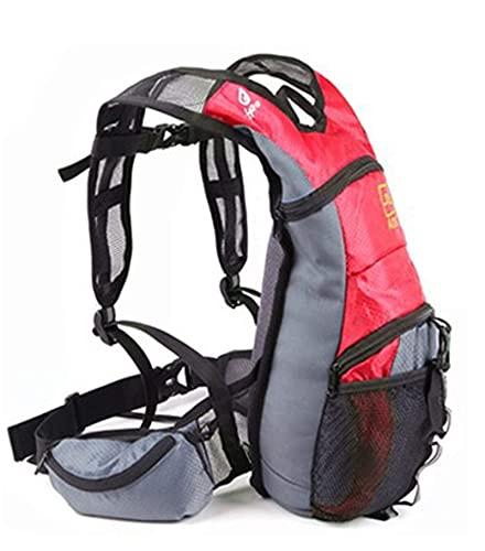 WYZQ Outdoor-Fahrradrucksack, 13L atmungsaktiver Fahrradrucksack mit Helmnetzabdeckung Wasserdichter Wandertagesrucksack für Outdoor-Sport Bergsteigen Laufen Wandern, Lenkertaschen