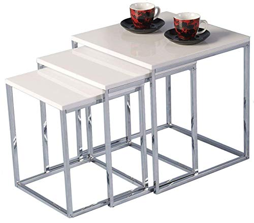 BOJU Modern Nesting Table Set of 3 Living Room White High Gloss Wood Coffee End Table Tea Sofa Side Table with Chrome Legs for Corner Small Space(White)