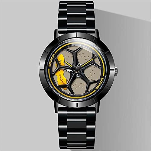 STST Relojes para Hombre Rueda Movimiento de Cuarzo Reloj Giratorio con Correa de Acero Inoxidable Resistente al Agua,Negro