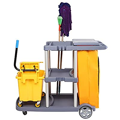 Janitorial Cleaning Cart Washing Car with Cover...