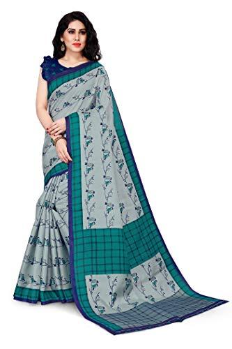 Mirchi Fashion Damen Designer Bedruckter Sari mit Blusenteil Gr. One size, Grau,...
